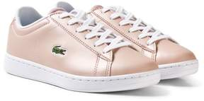 Lacoste Pale Pink Kids Faux Leather Carnaby Trainers