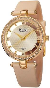 Burgi Gold Diamond Dial Ivory Satin Strap Ladies Watch