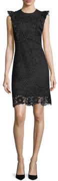 Shoshanna Poppy Lace Cap-Sleeve Dress