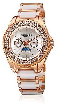 Akribos XXIV Silver Dial Rose Gold-Tone Ceramic Ladies Watch