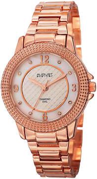 August Steiner Womens Rose Goldtone Strap Watch-As-8154rg