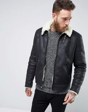 Asos Faux Shearling Jacket In Black