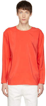 Lemaire Red Long Sleeve Silk T-Shirt