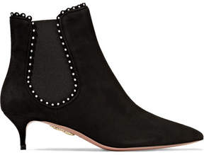 Aquazzura Jicky Faux Pearl-embellished Suede Ankle Boots - Black