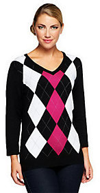 Denim & Co. As Is 3/4 Sleeve V-neck Argyle Sweater