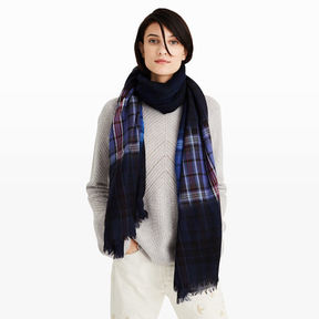 Club Monaco Marcinet Navy Plaid Dip Scarf