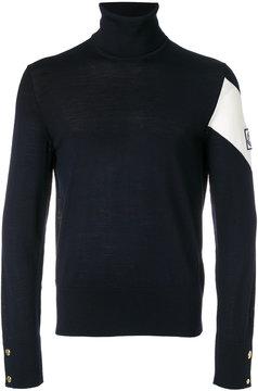 Moncler Gamme Bleu striped sleeve turtleneck sweater