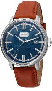 Just Cavalli Mens Brown Leather Strap Watch With Dark Blue Dial.
