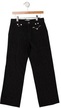Versace Girls' Ornate Velvet Pants