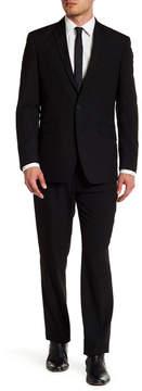 Kenneth Cole Reaction Black Pinstripe Two Button Notch Lapel Suit