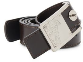 Logo Engraved Leather Belt