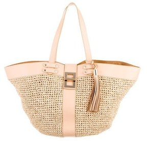 Reiss Leather-Trimmed Raffia Tote