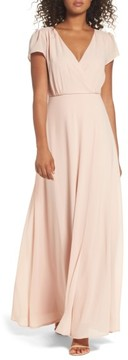 LuLu*s Women's Lace-Up Back Chiffon Gown