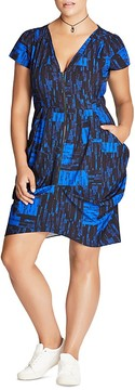 City Chic Abstract Print Zip Dress