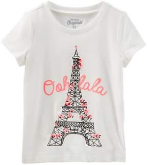 Osh Kosh Oshkosh Bgosh Girls 4-12 Ooh La La Eiffel Tower Cherry Blossom Graphic Tee