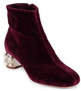 Miu Miu Velvet Jeweled Heel Booties