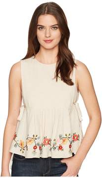 J.o.a. Embroidered Pleated Top with Side Tie Women's Clothing