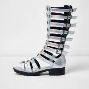 River Island Girls silver knee high gladiator sandals