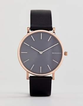 Skagen SKW6447 Hagen Slim Leather Watch In Black 38mm