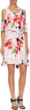 Donna Ricco Women's Floral Cold Shoulder Flared Dress