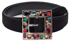 MANGO Leather crystal belt