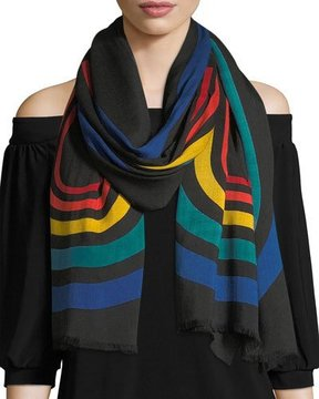 Marc Jacobs Vintage Stripe Viscose-Wool Logo Stole
