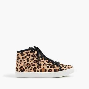 J.Crew Girls' high-top sneakers in leopard-print pony hair