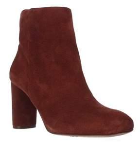 INC International Concepts I35 Taytee Block Heel Dress Ankle Boots, Spiced Orange.