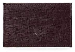 Aspinal of London | Slim Credit Card Case In Chocolate Brown Saffiano | Chocolate brown saffiano