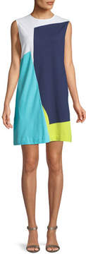 Joan Vass Sleeveless Colorblock Shift Dress