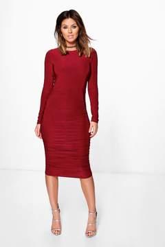 boohoo Honor Long Sleeve Wrap Bodycon Dress