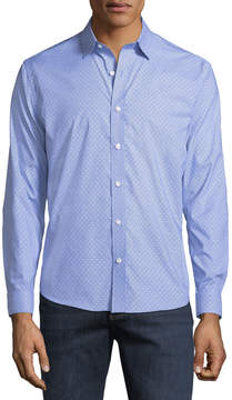 Neiman Marcus Classic-Fit Regular-Finish Wear-It-Out Textured Check Sport Shirt