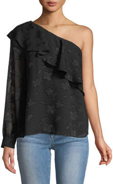 Cynthia Steffe Cece By One-Sleeve Jacquard Blouse