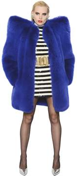 Oversized Shoulder Fox Fur Coat