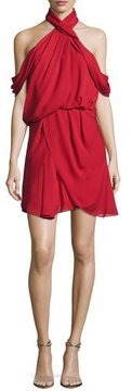 Camilla And Marc Lou Lou Draped Cold-Shoulder Cocktail Dress, Mid Red