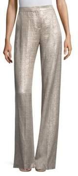 Etro Metallic Silver Wide-Leg Pants