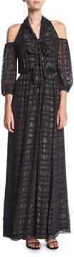 Shoshanna Laurel Cold-Shoulder Tie-Neck Evening Gown