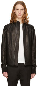 Rick Owens Black Leather Intarsia Jacket
