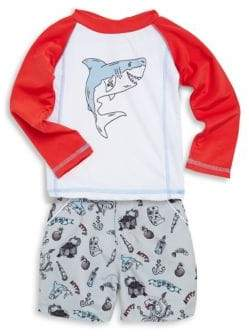 Andy & Evan Little Boy's Two-Piece Printed Rash Guard and Shorts Set
