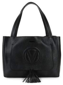Mario Valentino Ollie Grained Leather Tassel Tote