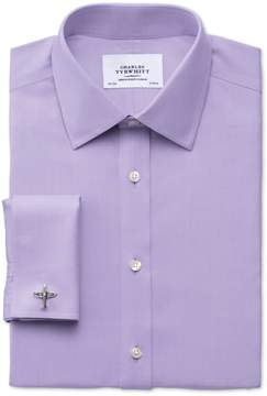Charles Tyrwhitt Extra Slim Fit Non-Iron Twill Lilac Cotton Dress Shirt French Cuff Size 15/33