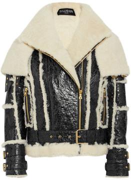 Balmain Oversized Cracked-leather And Shearling Jacket - Black