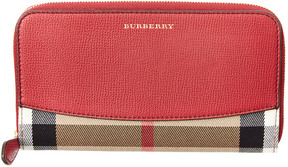 Burberry House Check & Leather Ziparound Wallet - RED - STYLE