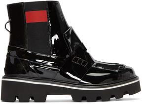 MSGM Black Patent Fringe Chelsea Boots