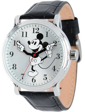 Disney Mickey Mouse Men's Shinny Silver Vintage Articulating Alloy Case Watch, Black Leather Strap