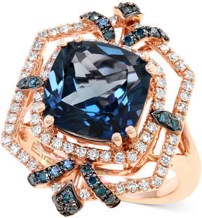 Effy London Blue Topaz (4-3/4 ct. t.w.) and Diamond (1/2 ct. t.w.) Ring in 14k Rose Gold