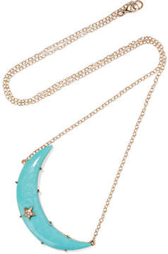 Andrea Fohrman Crescent Moon 14-karat Gold, Turquoise And Diamond Necklace