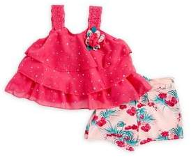 Little Lass Baby Girl's Two-Piece Tiered Floral Tank & Shorts Set