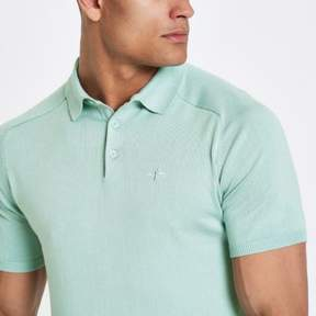 River Island Mens Mint green slim fit wasp knit polo shirt