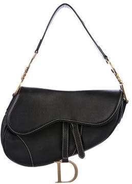 Christian Dior Grained Leather Saddle Bag